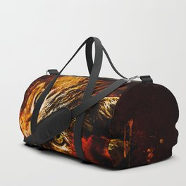 scary lurking cat from right splatter watercolor Duffle Bag