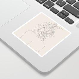 Woman with Flowers Minimal Line I Sticker