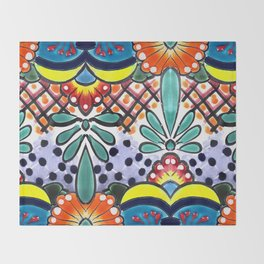 Colorful Talavera, Yellow Accent, Large, Mexican Tile Design Throw Blanket