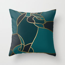 Art Deco Cat In Teal Throw Pillow