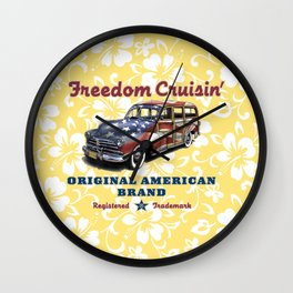 Freedom Crusin' Hawaiian Woody Design Wall Clock