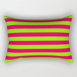 Super Bright Neon Pink and Green Horizontal Beach Hut Stripes Rectangular Pillow