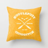 quidditch Throw Pillows featuring Hufflepuff Quidditch by Sharayah Mitchell