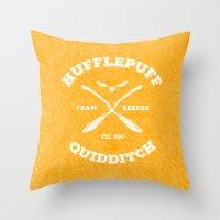 hufflepuff Throw Pillows featuring Hufflepuff Quidditch by Sharayah Mitchell