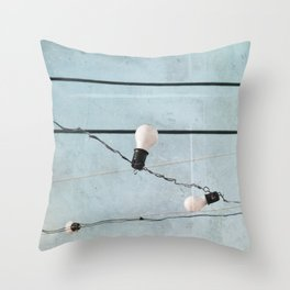 String Lights Industrial Chic Low Tech Wires and Light Bulbs Minimalist Throw Pillow