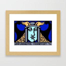 Jugendstil Einfuhrmesse Frankfurt blue Framed Art Print