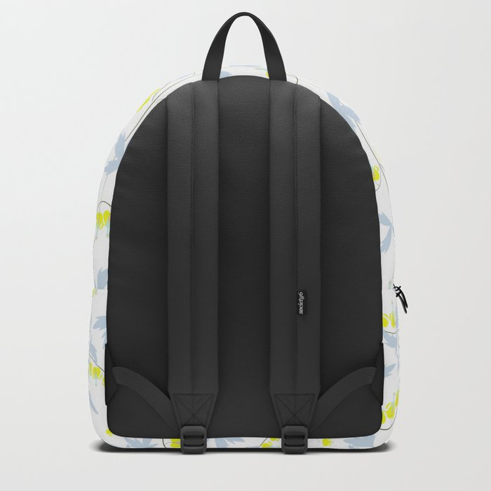 Floral pattern in yellow, blue, bright tone . Backpack