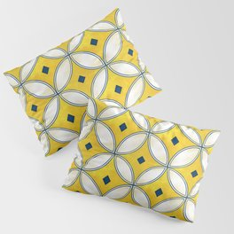 Mediterranean hand painted tile in Yellow, Blue and White Pillow Sham