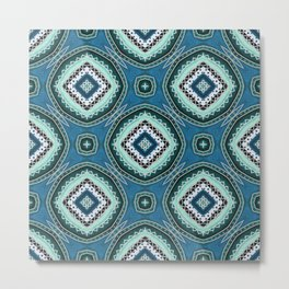Diamond Pattern in Teal and Green Metal Print