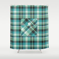 Plaid Pocket - Teal Blue/Green Shower Curtain