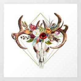 Boho flowers bull skull geometric design Art Print