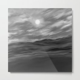 Valley Plains in simple Black and white Metal Print