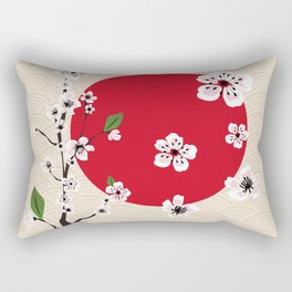 Japanese cherry blossom painting Rectangular Pillow
