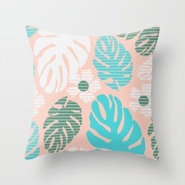 Tropical monstera dots Throw Pillow