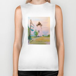 East Chop (Telegraph Hill) Lighthouse Martha's Vineyard Watercolor Biker Tank