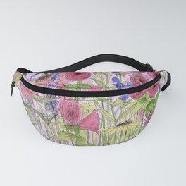Watercolor Wildflower Garden Flowers Hollyhock Teasel Butterfly Bush Blue Sky Fanny Pack