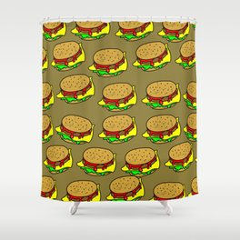 Cheeseburger Doodle Background Shower Curtain