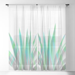 Tropical Allure - Green & Grey on White Sheer Curtain