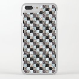 Rustic Black Brown Blue Patchwork Clear iPhone Case