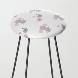 Pink Elephant Chickadee Bird Heart Counter Stool