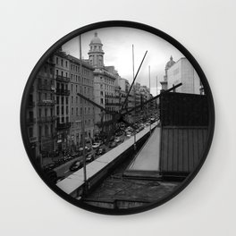 Barcelona, the Rambla from the window Wall Clock