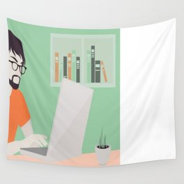 Handsome man with laptop illustration Wall Tapestry