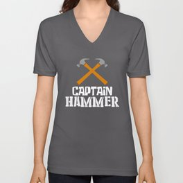 Captain Hammer, Carpenter Gift, Woodworker, Wood Working Unisex V-Neck
