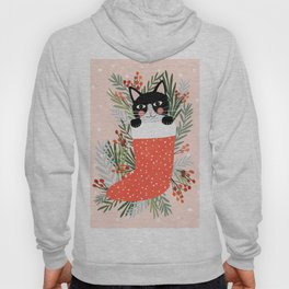 Cat on a sock. Holiday. Christmas Hoody