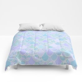 Mermaid Scales Pattern, Aqua and Pastel Lilac Comforters