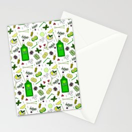 Colourful Gin Drinker Cocktail Bar Pattern Stationery Cards
