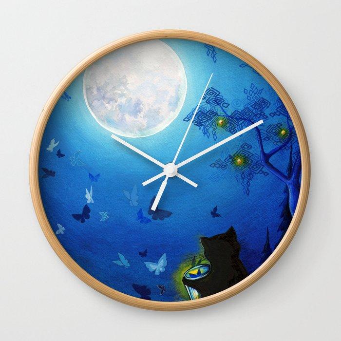 Butterflies and Fairy Lanterns Wall Clock