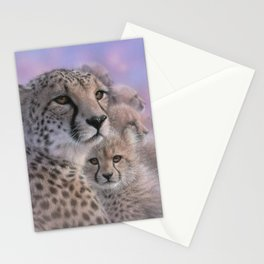 Cheetah Mother and Cubs - Mothers Love Stationery Cards