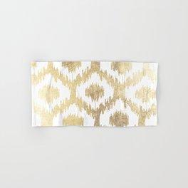 Modern white hand drawn ikat pattern faux gold Hand & Bath Towel