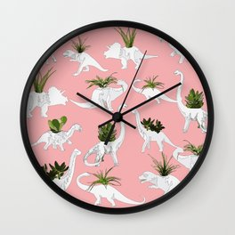Dinosaurs & Succulents Wall Clock