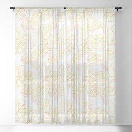 Monstera (White Glow) - Sunset Sheer Curtain