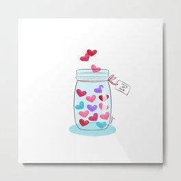 Saving My Love (Mason Jar Of Hearts) Metal Print