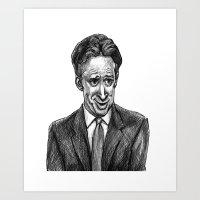 jon contino Art Prints featuring Jon Stewart by AndyGarnerFlexner