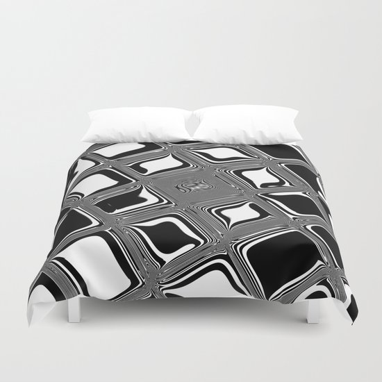 Black and white abstract design with fancy squared patterns on grey Duvet Cover