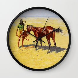 "Frederic Remington Western Art ""Hunted Down"" Wall Clock"