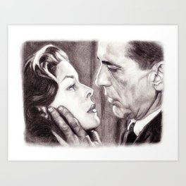 Charcoal Pencil Drawing of Bogey & Bacall, Dark Passage, Film Noir Art Print