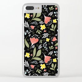 Spring Flowers Style Q Clear iPhone Case