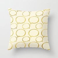 gold foil Throw Pillows featuring Cream Gold Foil 01 by Aloke Design
