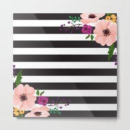 Monochrome Florals Metal Print