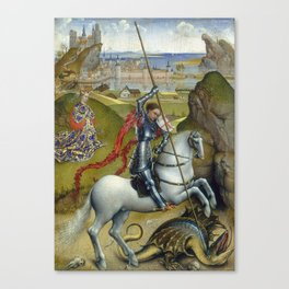 Saint George and the Dragon Oil Painting by Rogier van der Weyden Canvas Print