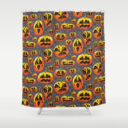 jack o lanterns jackolanterns purple pumpkin halloween creepy spooky holiday theme Shower Curtain