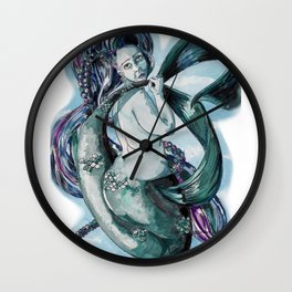 Mermaid Elizabeth, Teal, Watercolour Babe Wall Clock