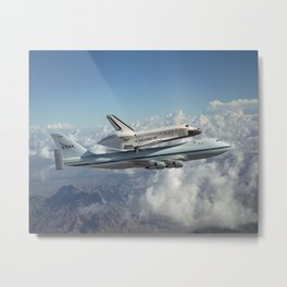 979. The Space Shuttle Discovery hitched a ride on a special 747 carrier aircraft for the flight from California to the Kennedy Space Center Metal Print