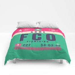 Retro Airline Luggage Tag - FCO Rome Fiumicino Comforters