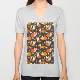 Cute Fox Illustration with Strawberries and Flowers Unisex V-Neck