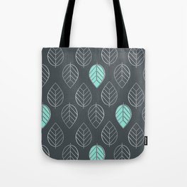 Mint & Silver Leaves Pattern & Slate Tote Bag